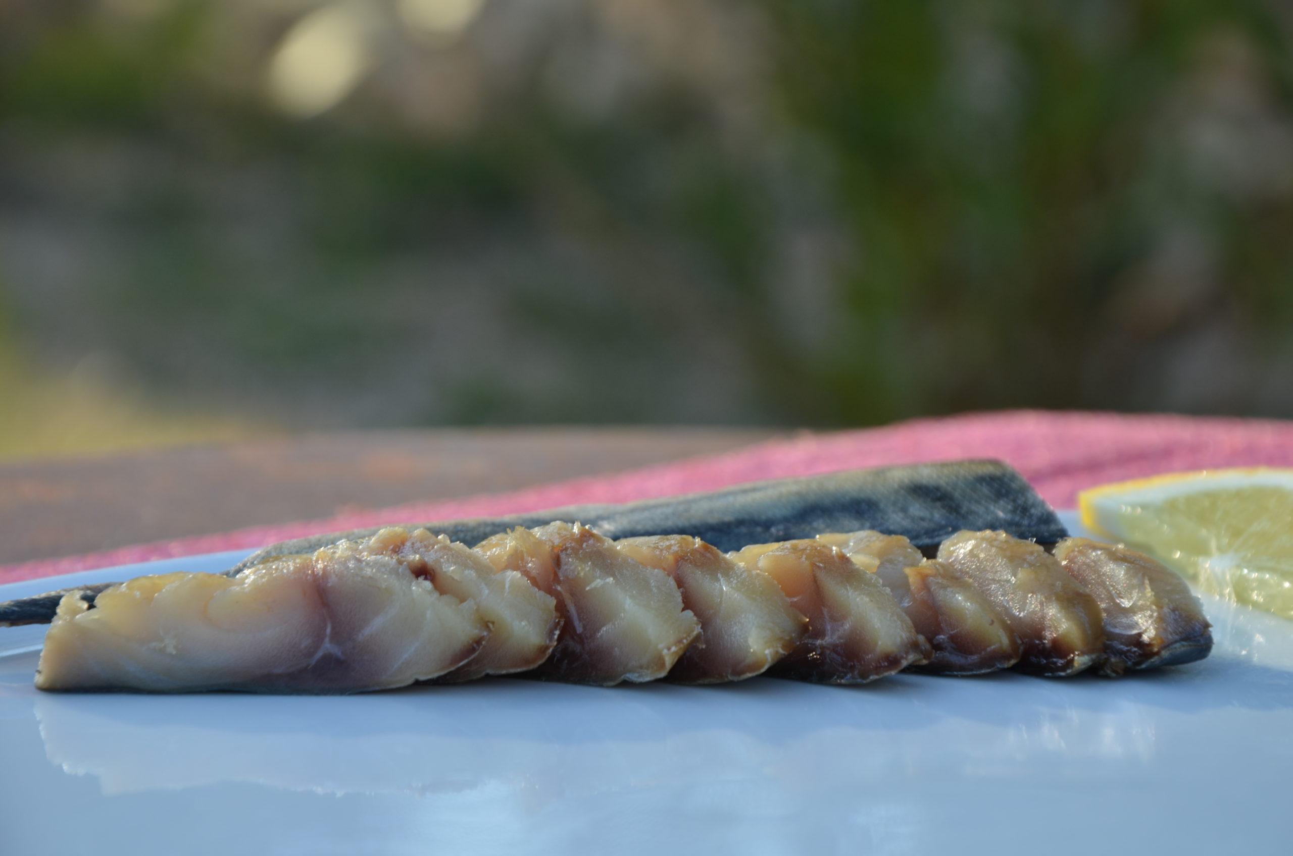 Maquereau fumé artisanal 120 gr, (63,33€/Kg)